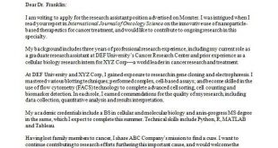 Cover Letter Template Research Assistant