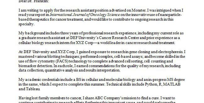 Cover Letter Template Research Assistant - Resume Format