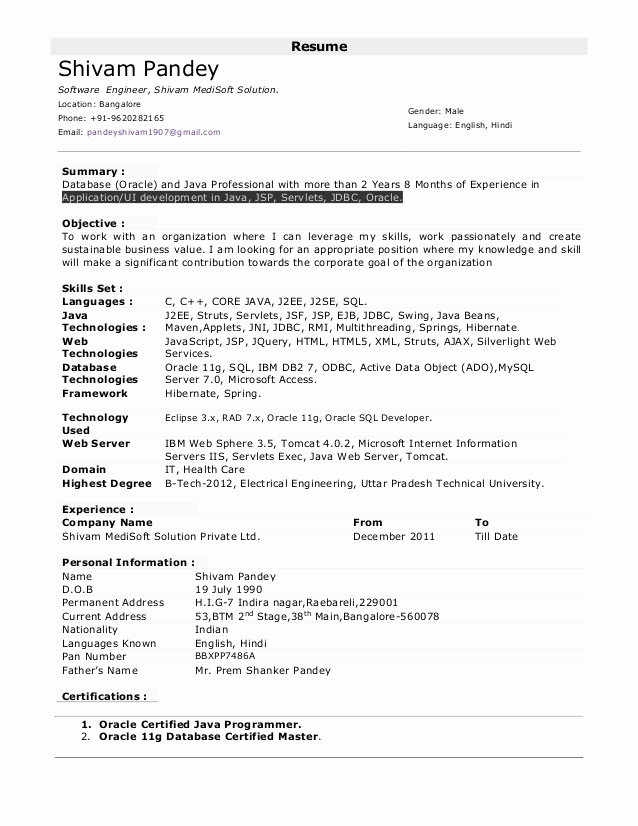 Resume Format For 9 Year Experience