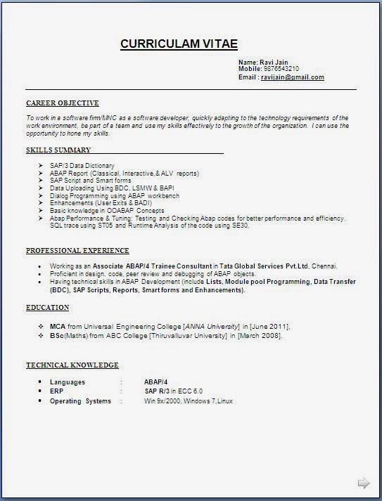 Resume Format Jpg