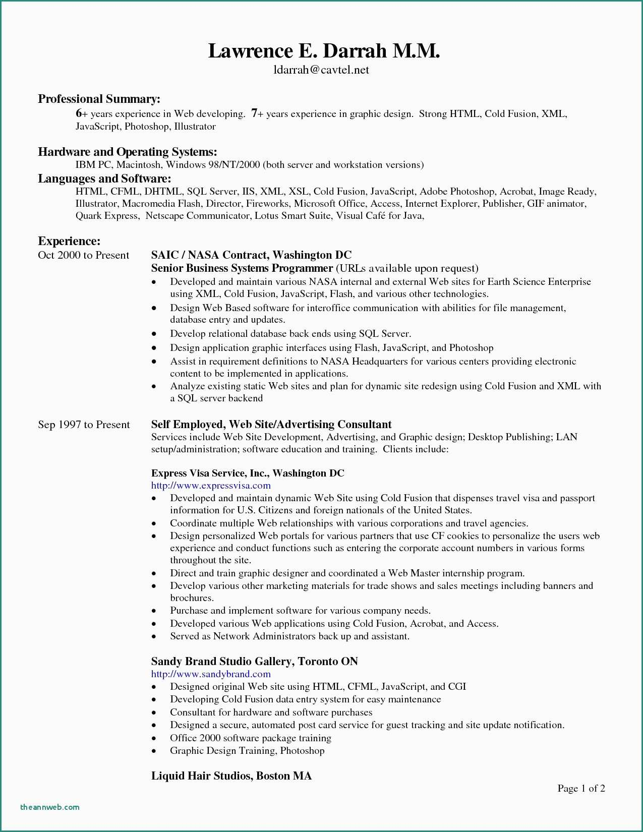 Resume Format Header