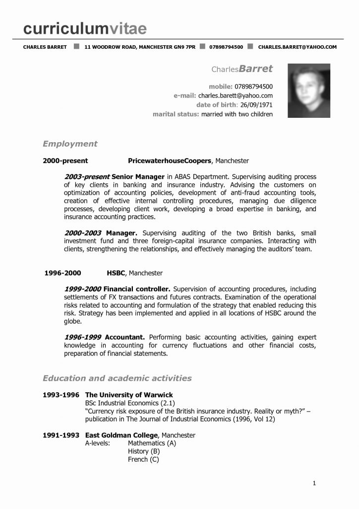 Resume Format Used In Usa