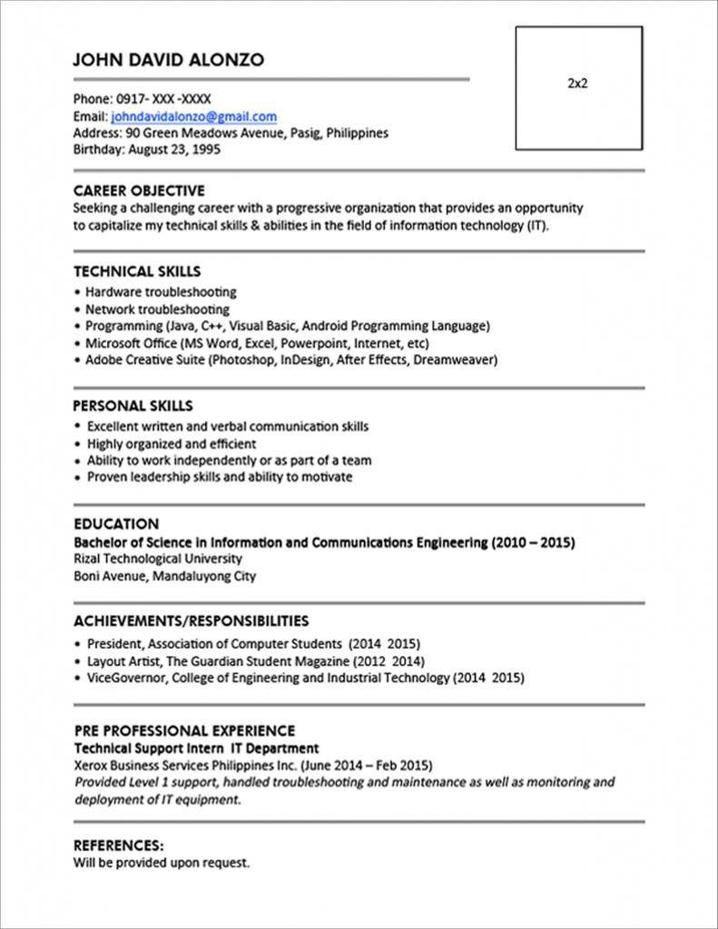 resume format jobstreet