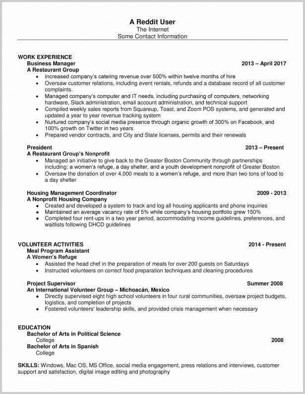 Resume Format Reddit