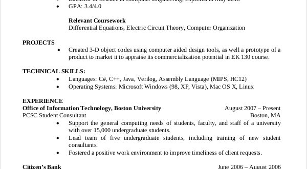 Resume Format Computer Science Resume Format