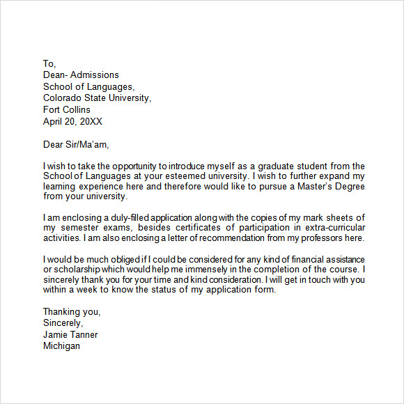 Cover Letter Template College
