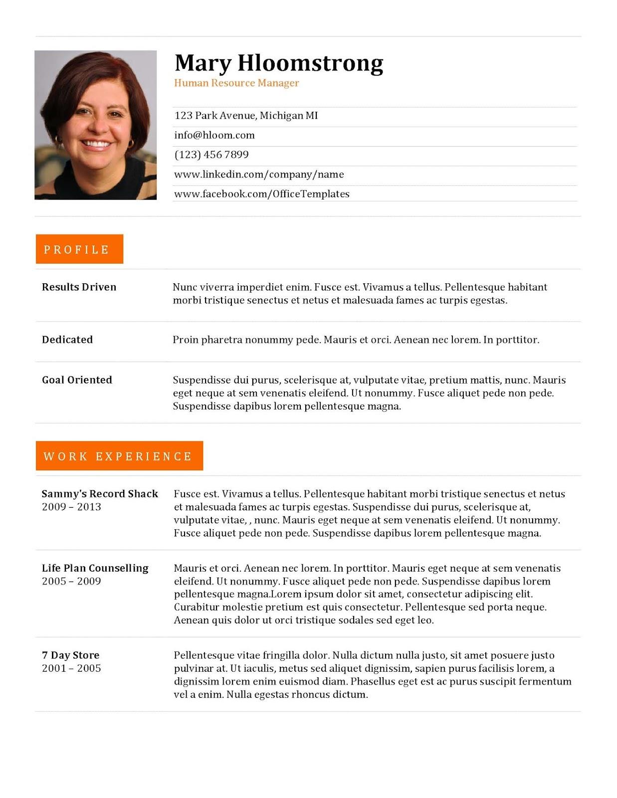 Resume Format Uae