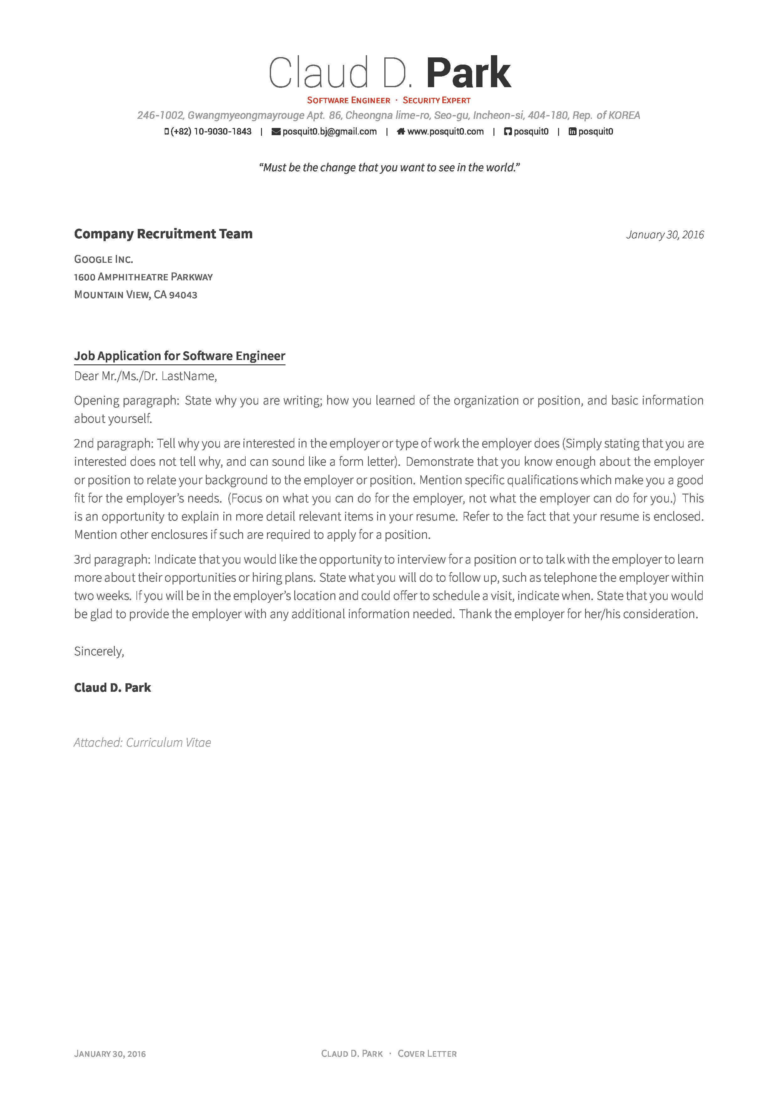 Cover Letter Template Overleaf