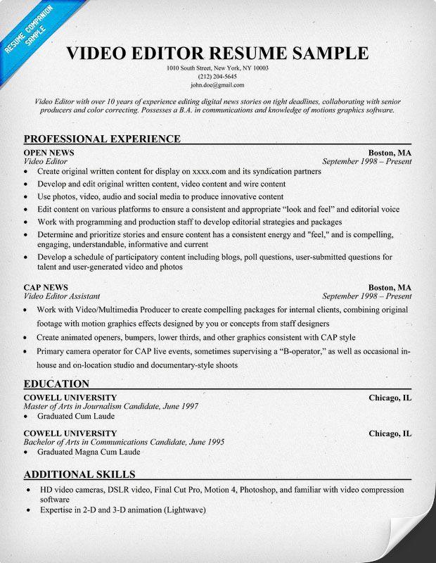 Resume Format Video Editor