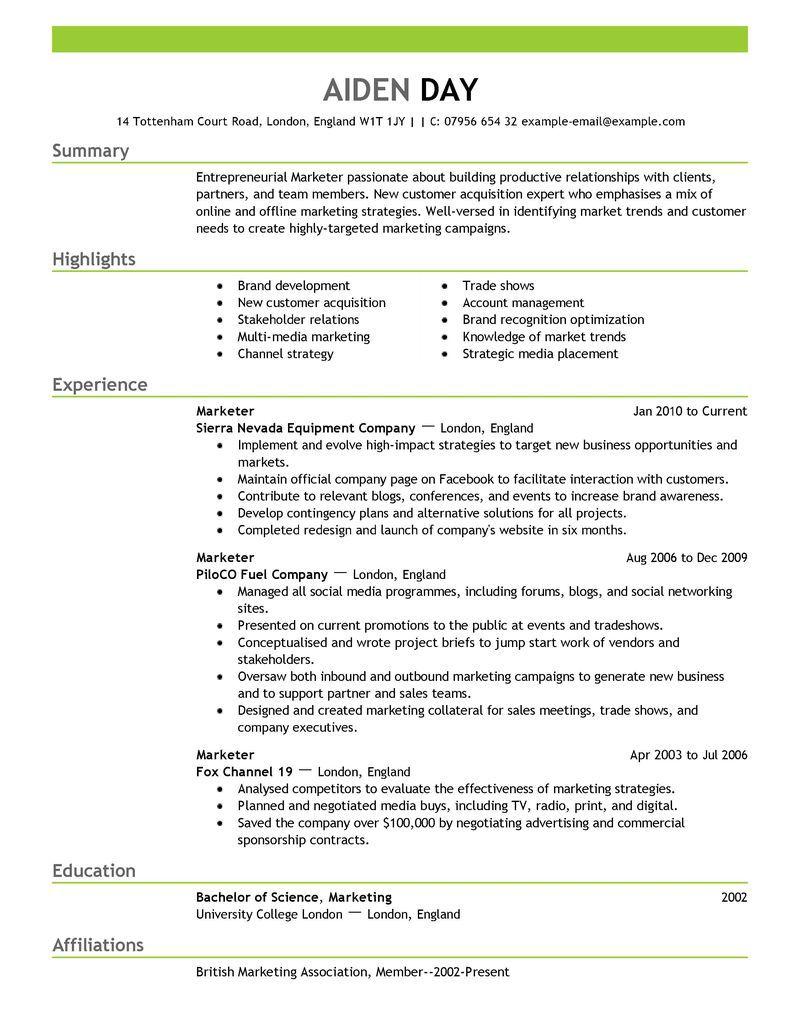Resume Format Marketing