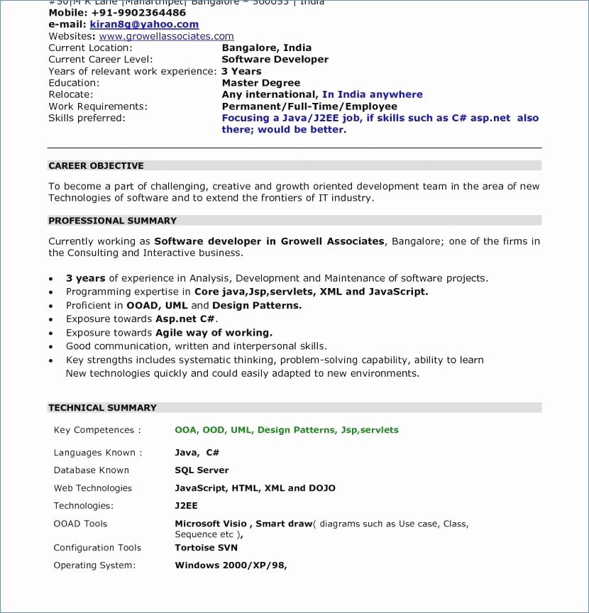 Resume Xml Format