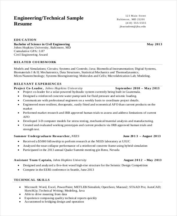 Resume Format Engineering