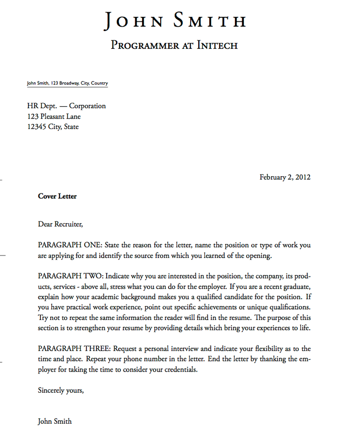 Cover Letter Template Text