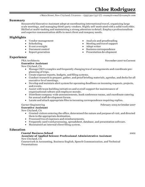 Resume Format Executive Assistant