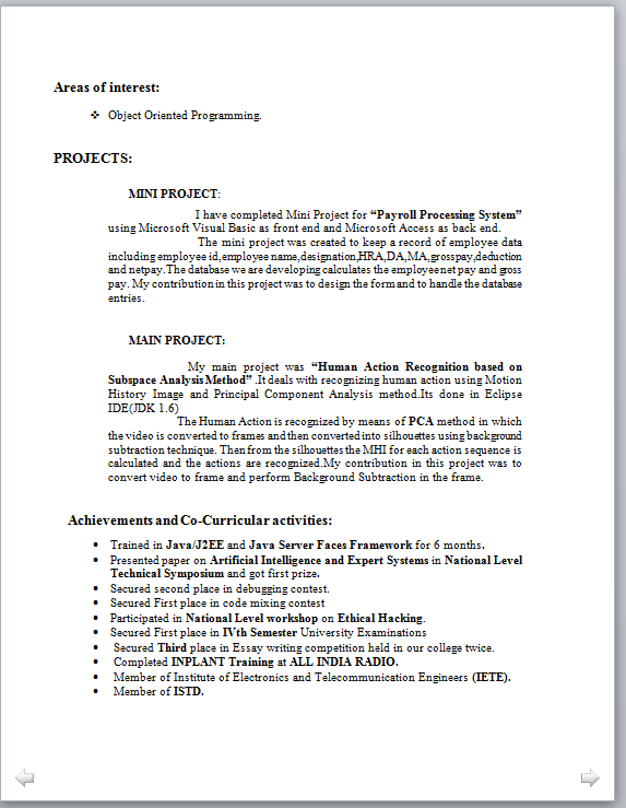 M Tech Fresher Resume Format