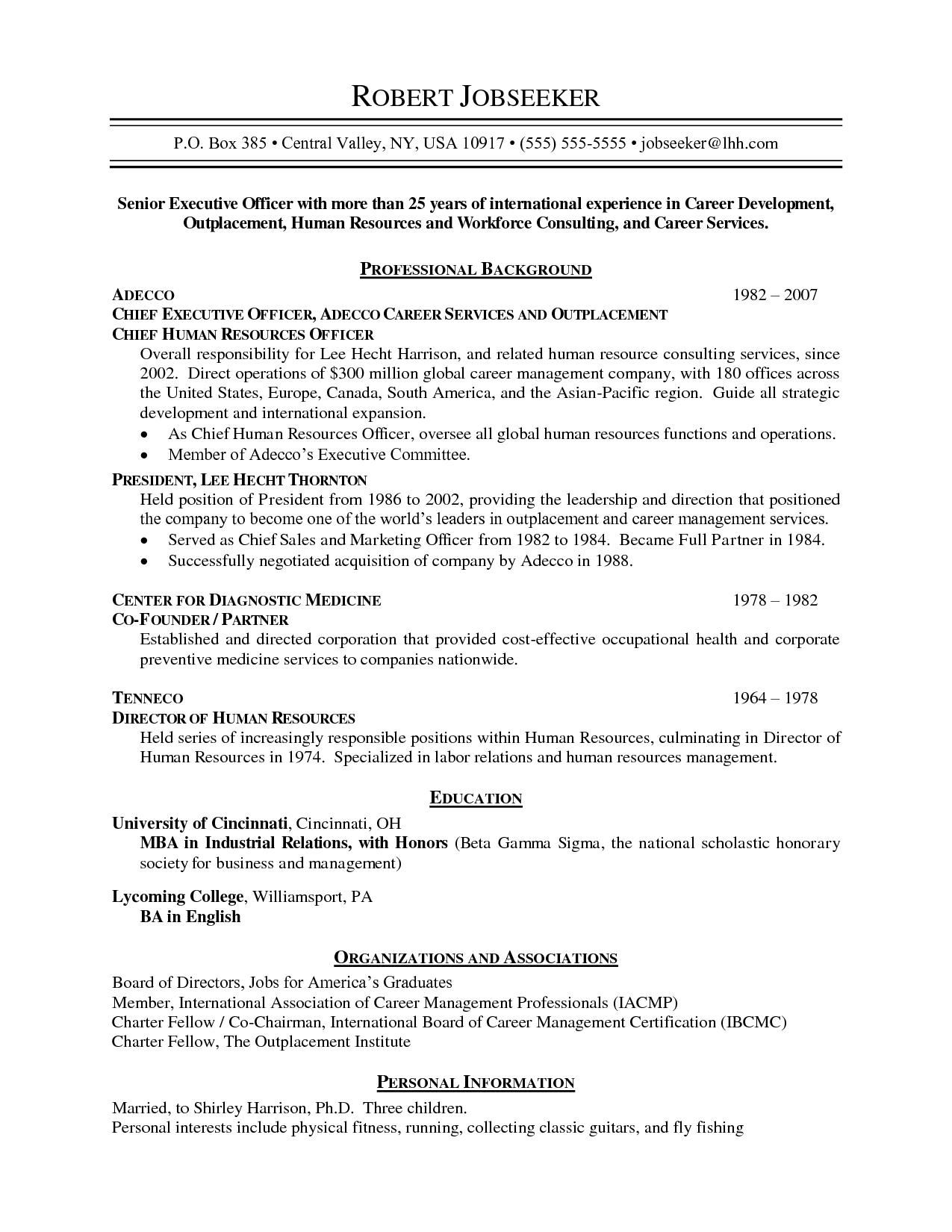 Resume Format Not Chronological