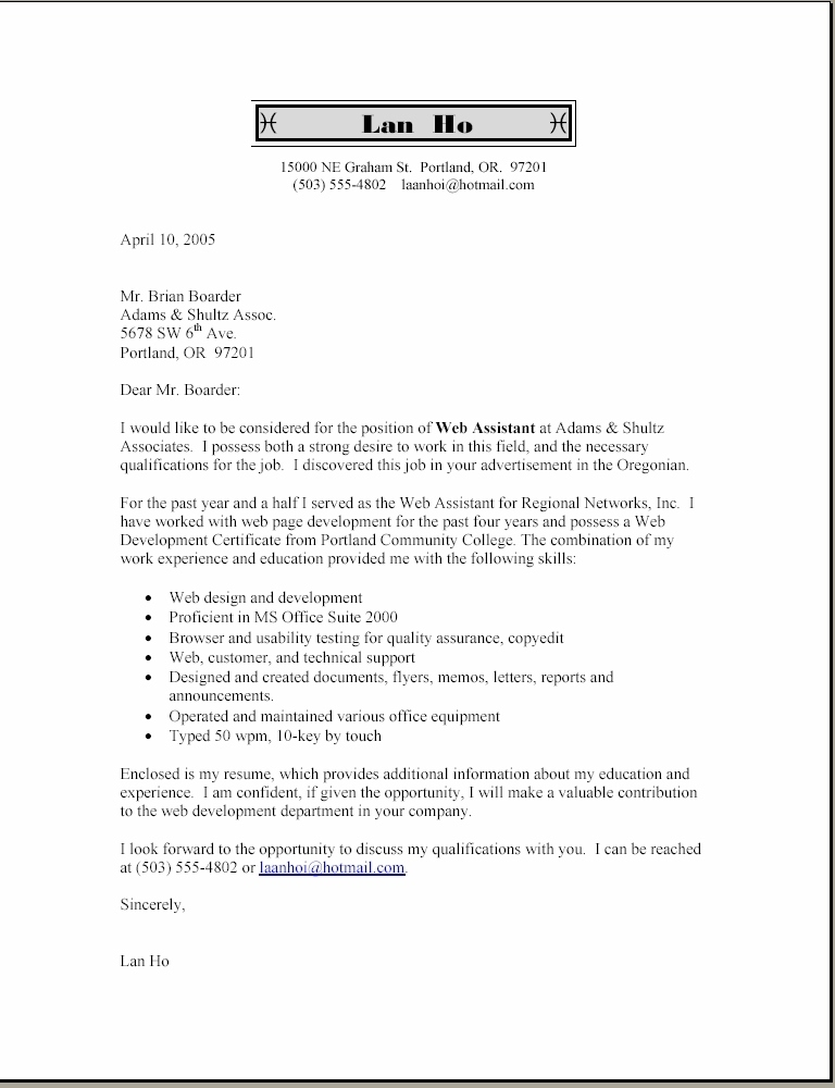 Cover Letter Template With Bullet Points