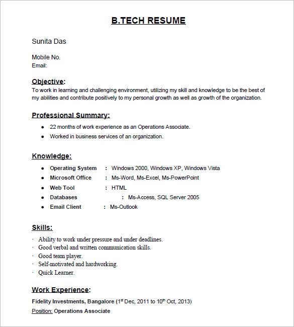 B E Resume Format For Freshers