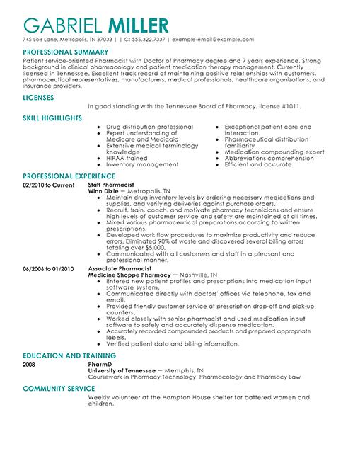 D Pharma Resume Format