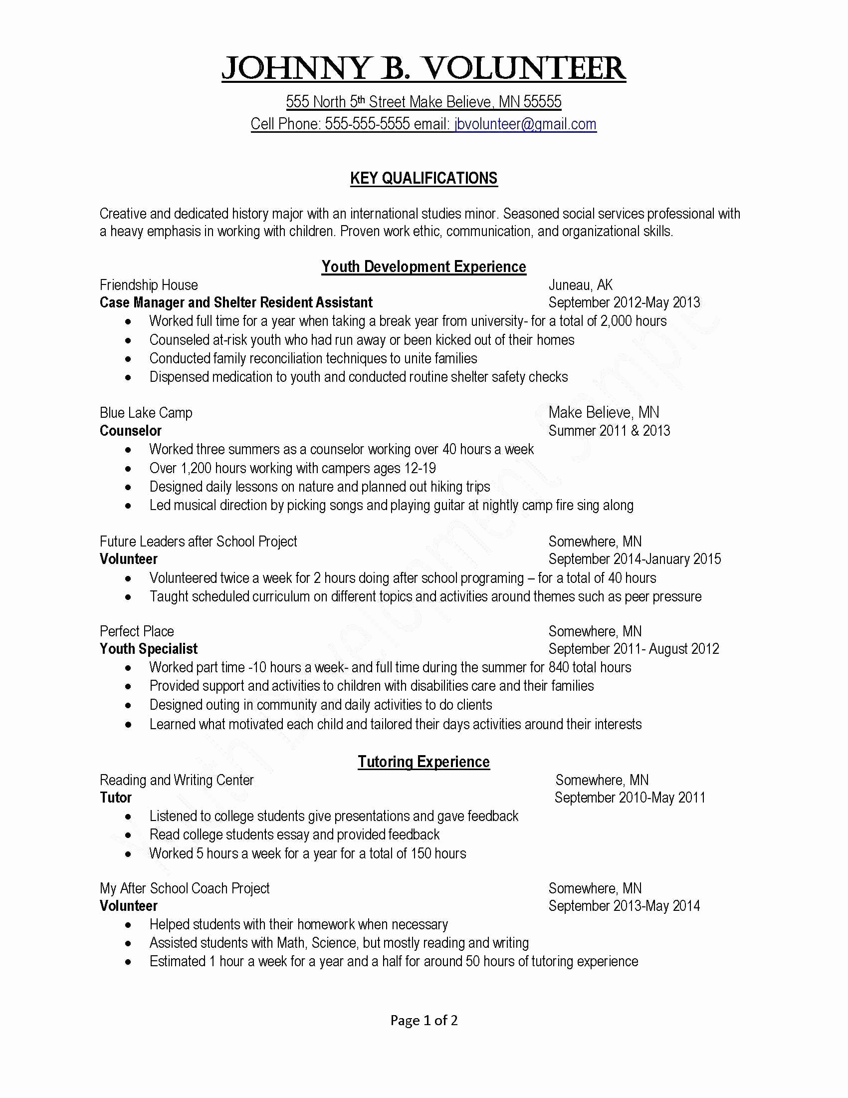 Cv Template 19 Year Old
