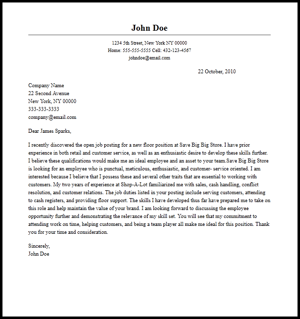 Cover Letter Template Example