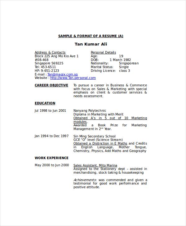 Resume Format Housekeeping
