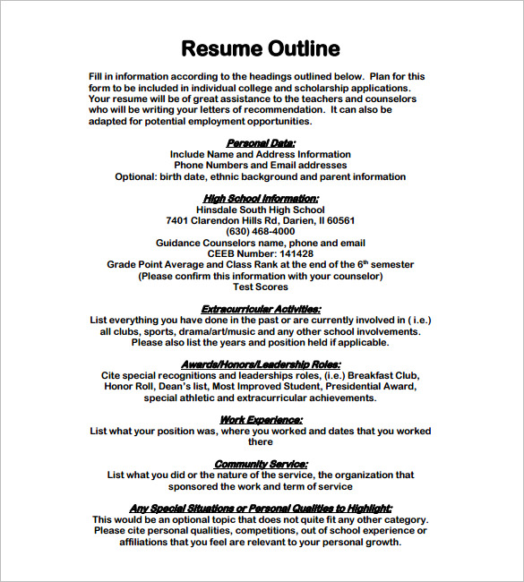 Resume Format Outline