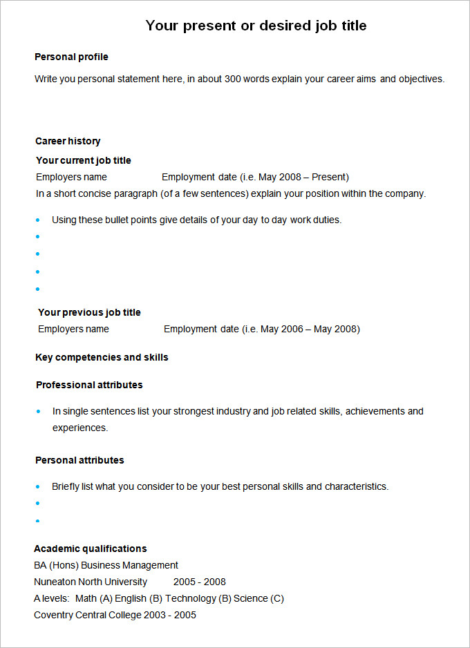 Cv Template Qualifications