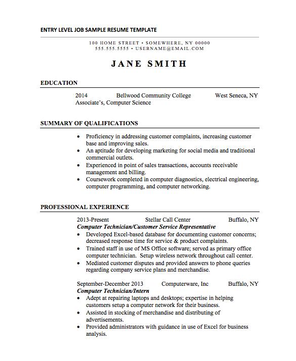 Resume Format For Internship