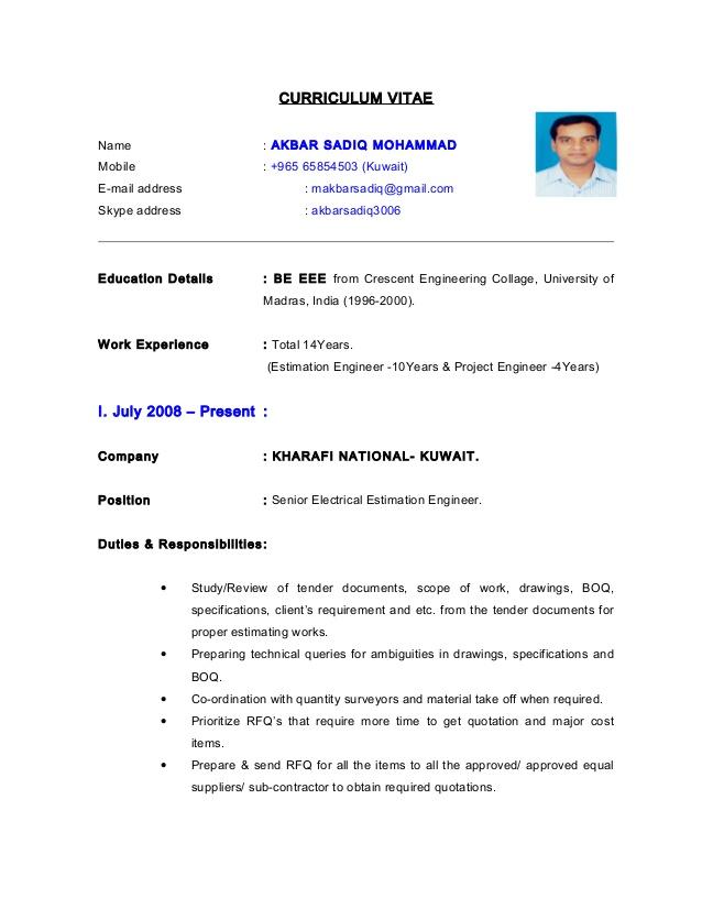 Resume Format Kuwait