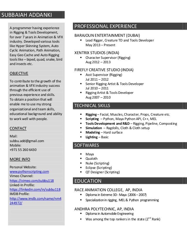 Resume Format Vfx Artist