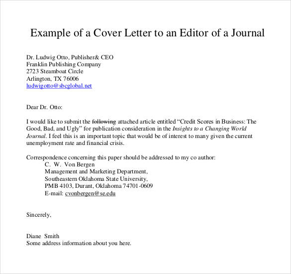 Cover Letter Template Journal