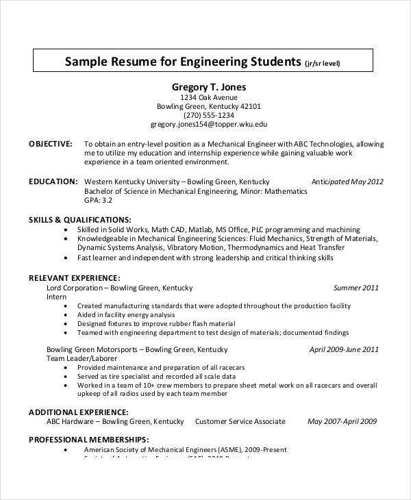 Resume Format Sheet