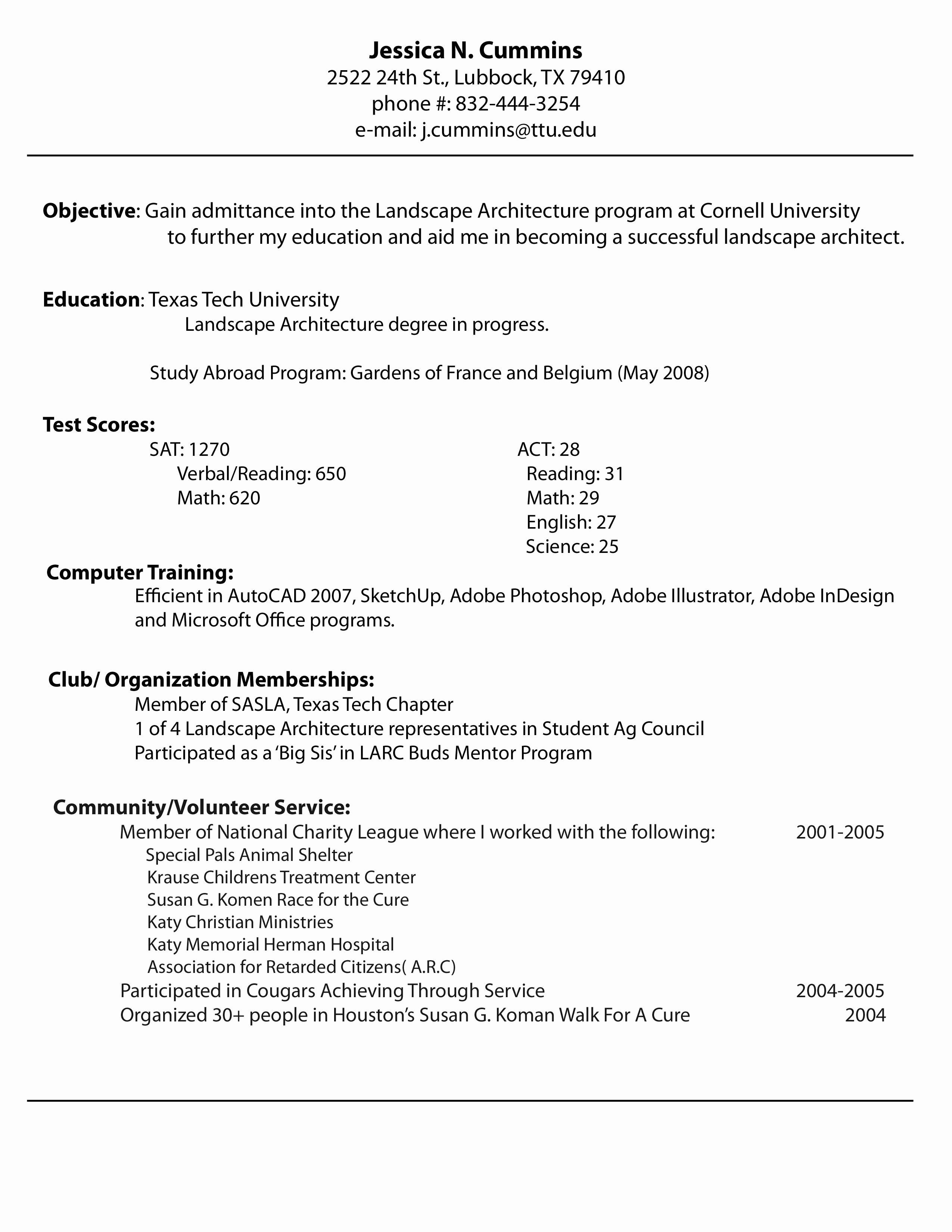 Sample Resume Xls Format