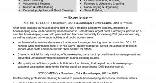 Resume Format Housekeeping