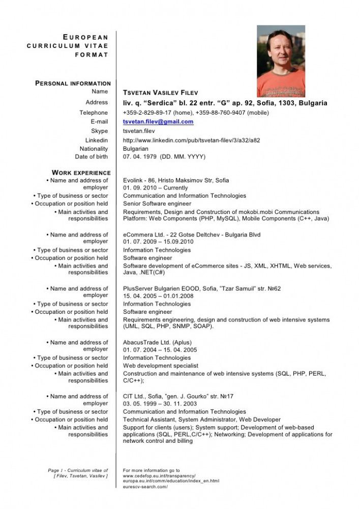 Cv Template Germany Resume Format