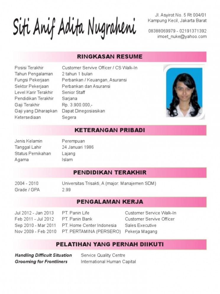 Cv Template Bahasa Indonesia Resume Format