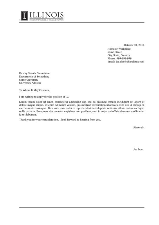 Cover Letter Template University