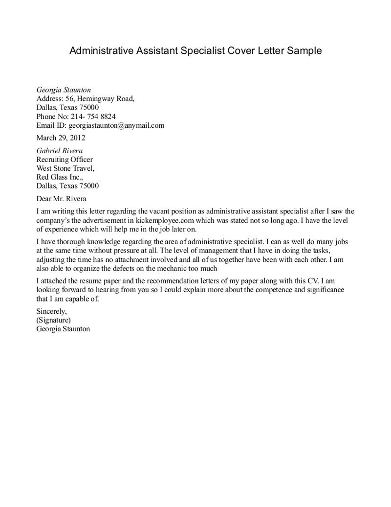 Cover Letter Template Administrative Assistant