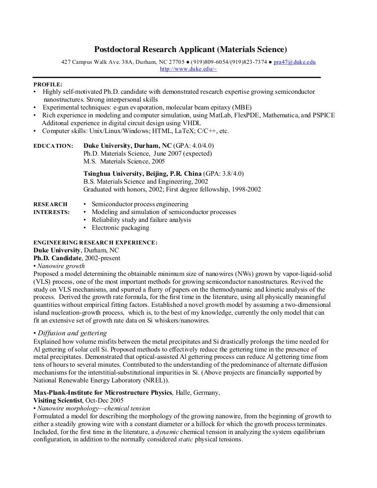 Cv Template Research Scientist