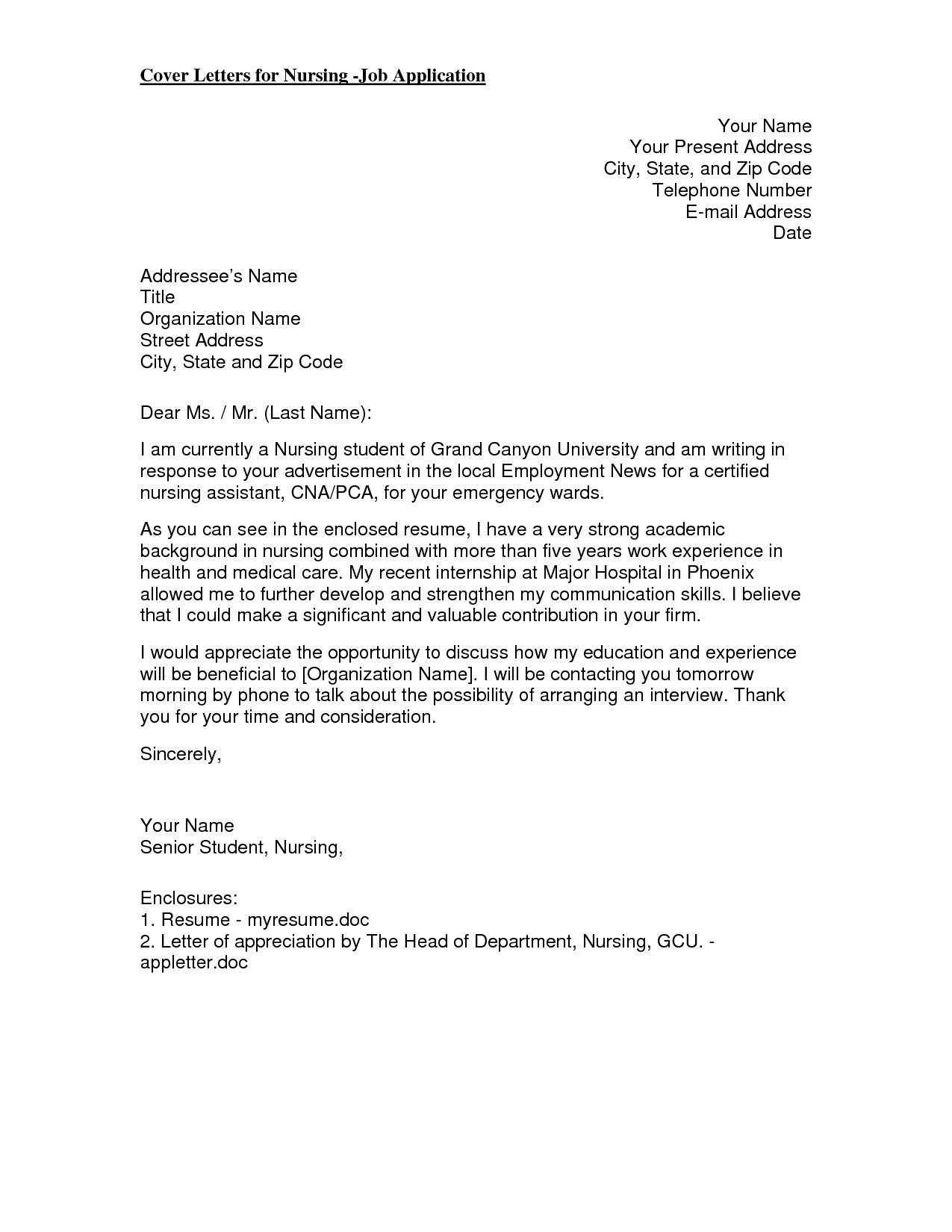 Cover Letter Template New Graduate