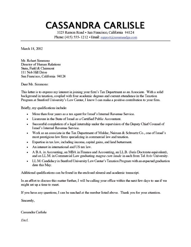 A Great Cover Letter Template