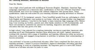 Cover Letter Template Teacher Assistant