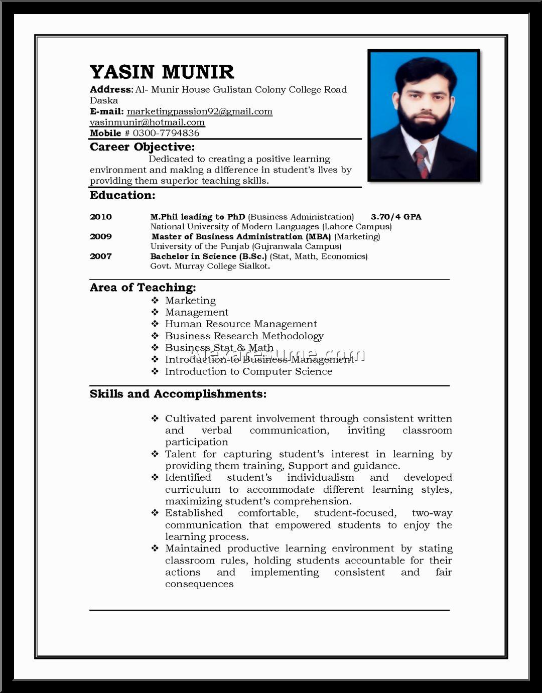 M Phil Resume Format