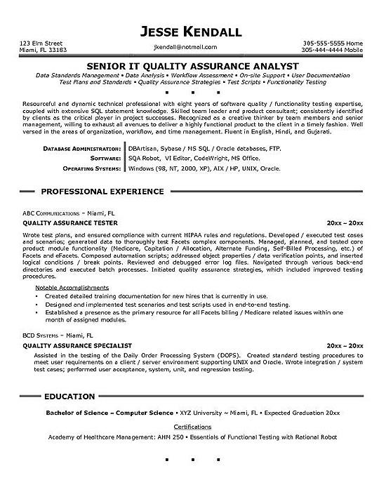 Cv Template Quality Assurance