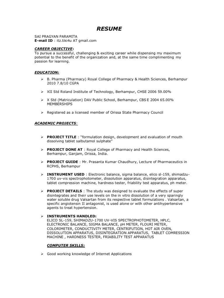 D Pharmacy Resume Format