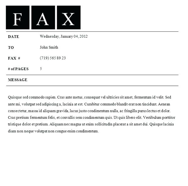 Cover Letter Template For Fax