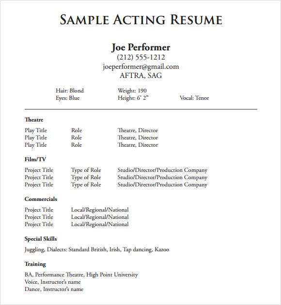 Resume Format Actor