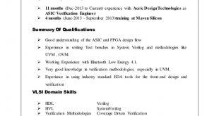 Resume Format Vlsi Design Engineer