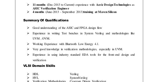 Resume Format Vlsi Design Engineer - Resume Format